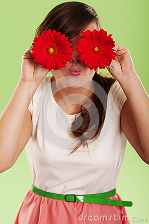 Woman with gerbera