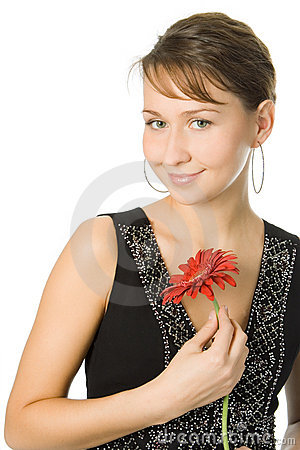 Woman with gerbera flower
