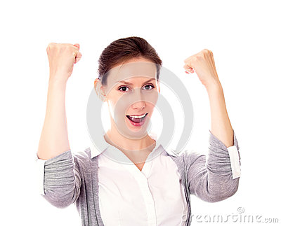 Woman gesture success isolated white