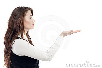 Woman gesturing with hand