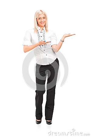 Woman gesturing with hands