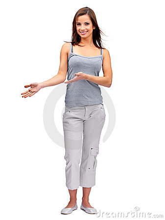 Woman gesturing with hands on white background