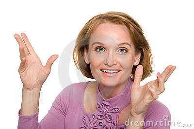 Woman gesturing with his hands gleefully