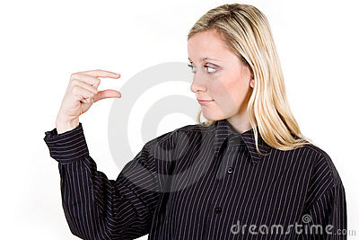 Woman gesturing little sign