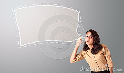 Woman gesturing with speech bubble copy space