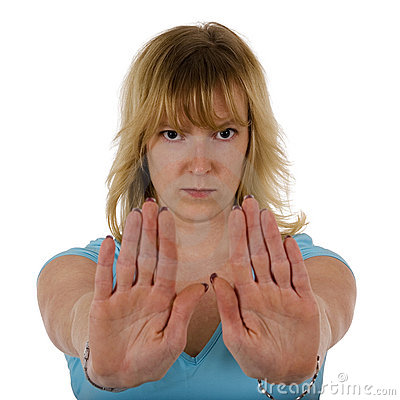 Woman gesturing stop with hand