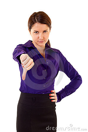 Woman gesturing thumbs down