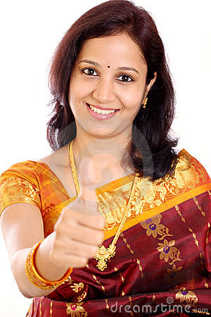 Woman gesturing thumbs up