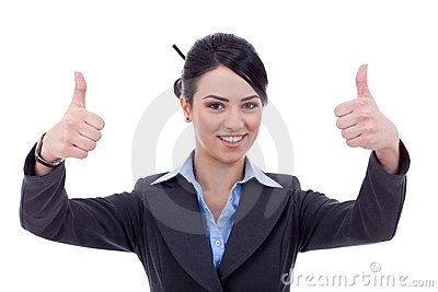 Woman gesturing thumbs up sign