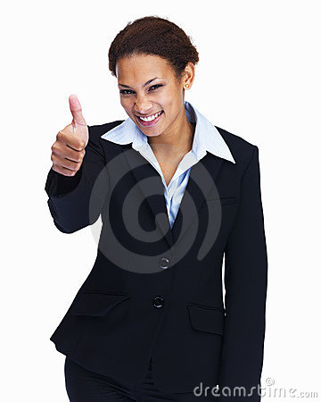 Woman gesturing a thumbs up sign on white