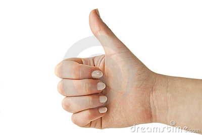 Woman gesturing up with her thumb
