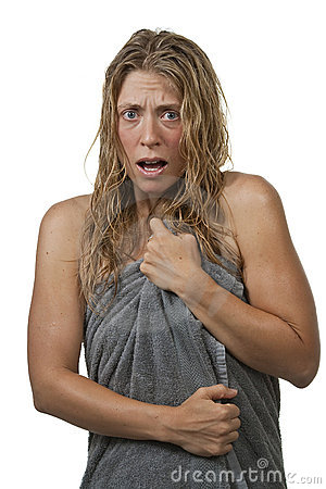 Woman gets out of the shower, scared