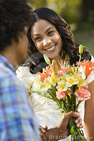 Free Woman Getting Flowers. Royalty Free Stock Photos - 3614268