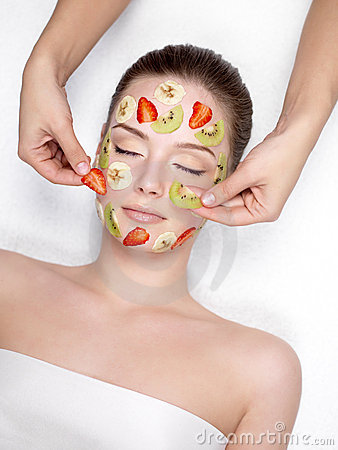 Free Woman Getting Fruit Cosmetic Facial Mask Stock Photo - 19070150