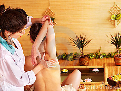 Woman getting massage.