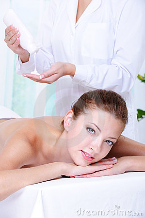 Woman getting massage and relaxation