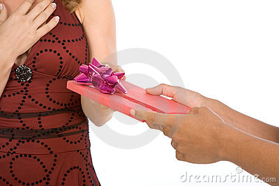 Woman Getting receiving birthday present Gift