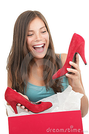 Woman getting shoes as gift