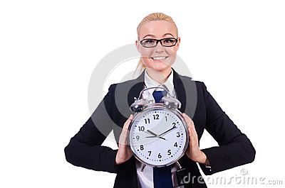 Woman with giant clock