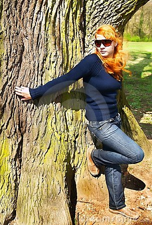 Woman and giant tree