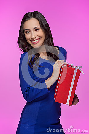 Woman with gift box.