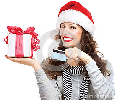 Woman with Gift Box and Credit Card
