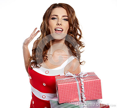 Woman with a gift boxes