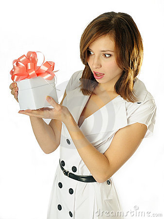 Woman with a gift in her hands
