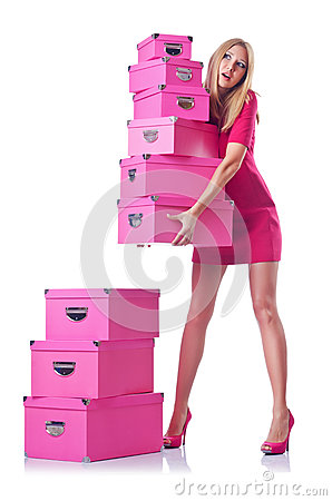 Woman with giftboxes