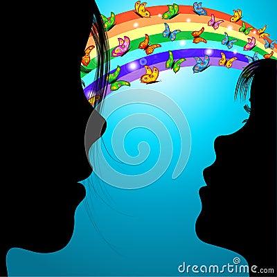 Woman,girl & butterflies over the rainbow