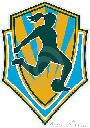 Woman girl playing soccer