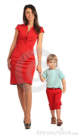 Woman and girl walking