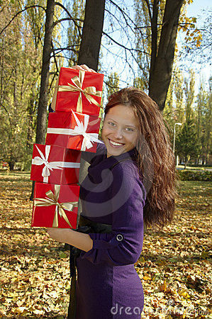 Woman gives a gift