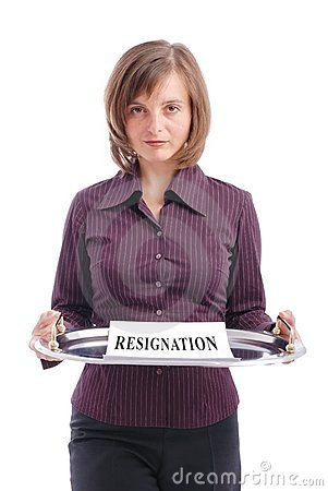 Woman gives resignation