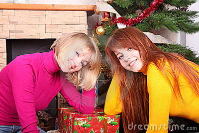 Woman  giving christmas present t