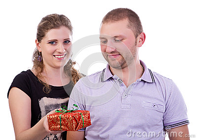 Woman giving a present to his boyfriend