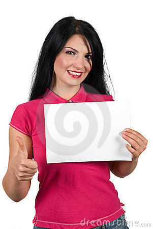 Woman giving thumb-up and hold a blank sign