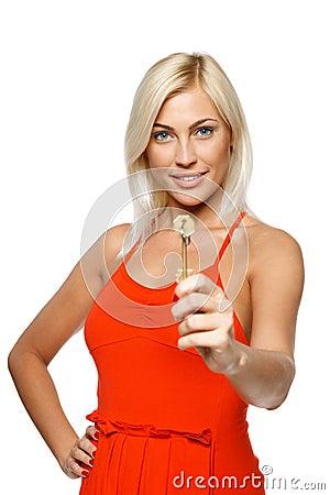 Woman giving you a key
