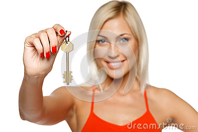 Woman giving you a key