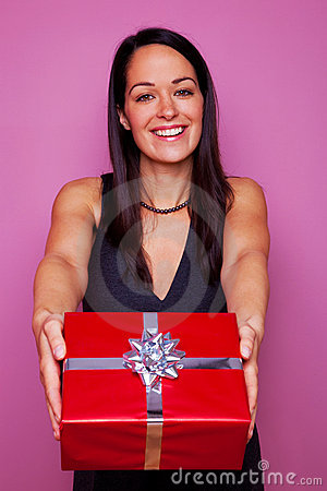 Woman giving you a present