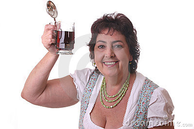 Woman with glass bavarian beer