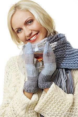 Woman with glass of cognac
