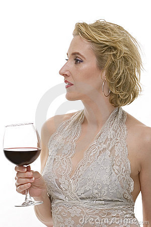 Woman with glass of red wine