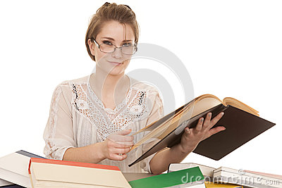 Woman in glasses and books look smile