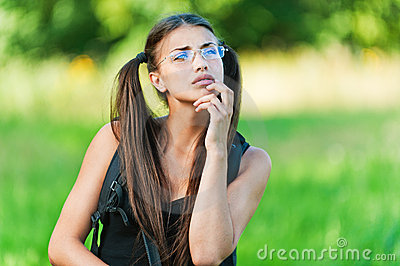 Woman with glasses, dreams