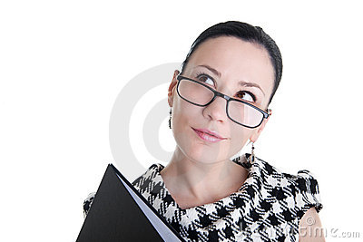 A woman with glasses and folder dreaming