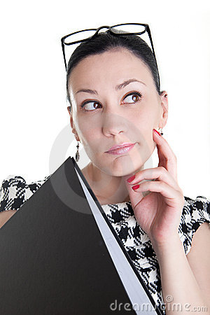 A woman with glasses and folder thinking