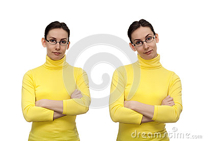 Woman glasses hands crossed chest isolated white