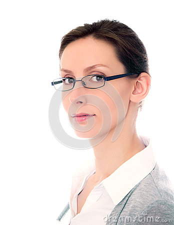Woman glasses isolated white