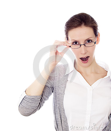 Woman glasses isolated white copy space